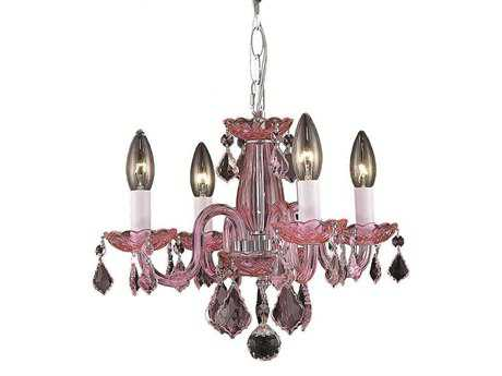 Elegant Lighting Rococo Royal Cut Pink & Rosaline (Pink) Four-Light 15'' Wide Mini Chandelier