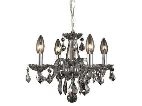 Elegant Lighting Rococo Royal Cut Silver Shade Four-Light 15'' Wide Mini Chandelier
