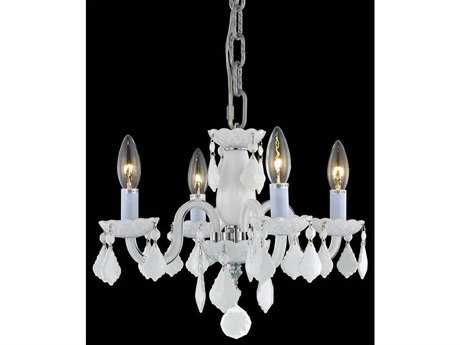 Elegant Lighting Rococo Royal Cut White Four-Light 15'' Wide Mini Chandelier EG7804D15WHWH