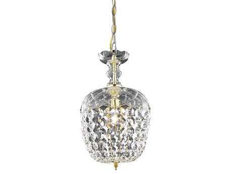 Elegant Lighting Rococo Royal Cut Gold & Crystal 8'' Wide Pendant EG7801D8G
