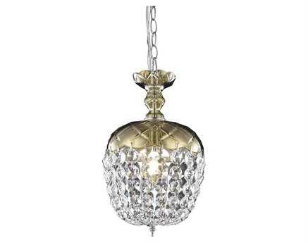 Elegant Lighting Rococo Royal Cut Golden Teak (Smoky) 8'' Wide Pendant EG7801D8GT