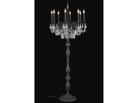 Elegant Lighting Rosalia Royal Cut Dark Bronze & Crystal Eight-Light Floor Lamp EG9208FL24DB