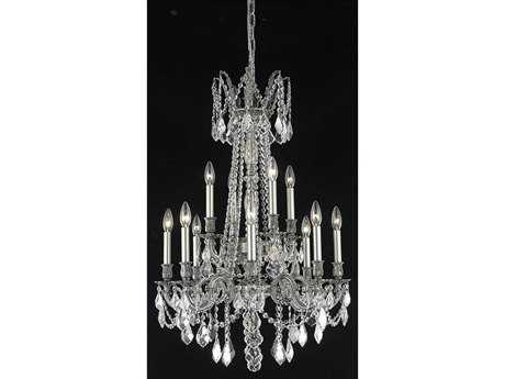 Elegant Lighting Rosalia Royal Cut Pewter & Crystal 12-Light 24'' Wide Grand Chandelier EG9212D24PW