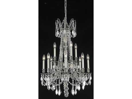 Elegant Lighting Rosalia Royal Cut Pewter & Crystal 12-Light 24'' Wide Grand Chandelier EG9212D24PW