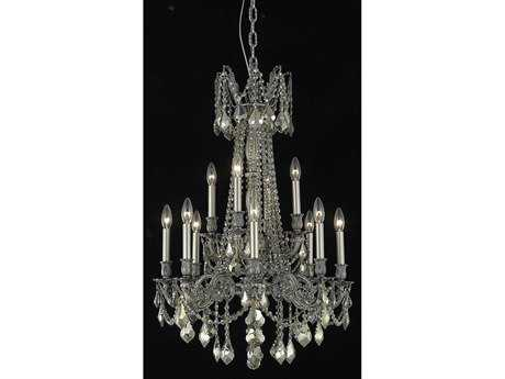 Elegant Lighting Rosalia Royal Cut Pewter & Golden Teak 12-Light 24'' Wide Grand Chandelier EG9212D24PWGT