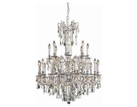 Elegant Lighting Rosalia Royal Cut Pewter & Crystal 24-Light 36'' Wide Grand Chandelier EG9224G36PW