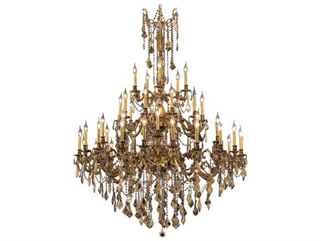 Elegant Lighting Rosalia French Gold 45-Light 54'' Wide Chandelier with Royal Cut Crystal