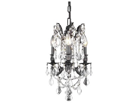 Elegant Lighting Rosalia Royal Cut Dark Bronze & Crystal Three-Light 13'' Wide Mini Chandelier EG9203D13DB