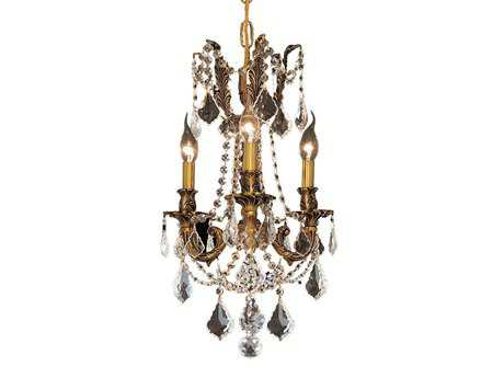 Elegant Lighting Rosalia Royal Cut French Gold & Crystal Three-Light 13'' Wide Mini Chandelier EG9203D13FG