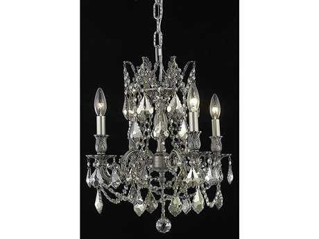 Elegant Lighting Rosalia Royal Cut Pewter & Golden Teak Four-Light 17'' Wide Mini Chandelier EG9204D17PWGT