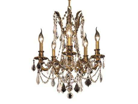 Elegant Lighting Rosalia Royal Cut French Gold & Crystal Five-Light 18'' Wide Mini Chandelier EG9205D18FG
