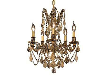 Elegant Lighting Rosalia Royal Cut French Gold & Golden Teak Five-Light 18'' Wide Mini Chandelier EG9205D18FGGT
