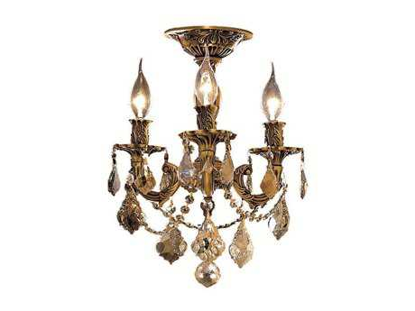 Elegant Lighting Rosalia Royal Cut French Gold & Golden Teak Three-Light 13'' Wide Semi-Flush Mount Light EG9203F13FGGT