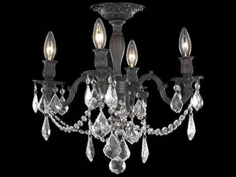 Elegant Lighting Rosalia Royal Cut Dark Bronze & Crystal Four-Light 17'' Wide Semi-Flush Mount Light EG9204F17DB