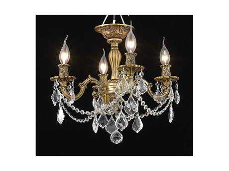 Elegant Lighting Rosalia Royal Cut French Gold & Crystal Four-Light 17'' Wide Semi-Flush Mount Light EG9204F17FG