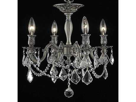 Elegant Lighting Rosalia Royal Cut Pewter & Crystal Four-Light 17'' Wide Semi-Flush Mount Light EG9204F17PW