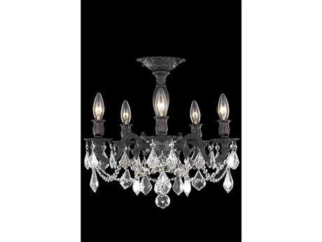 Elegant Lighting Rosalia Royal Cut Dark Bronze & Crystal Five-Light 18'' Wide Semi-Flush Mount Light EG9205F18DB