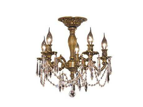 Elegant Lighting Rosalia Royal Cut French Gold & Crystal Five-Light 18'' Wide Semi-Flush Mount Light EG9205F18FG