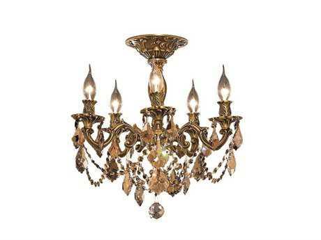Elegant Lighting Rosalia Royal Cut French Gold & Golden Teak Five-Light 18'' Wide Semi-Flush Mount Light