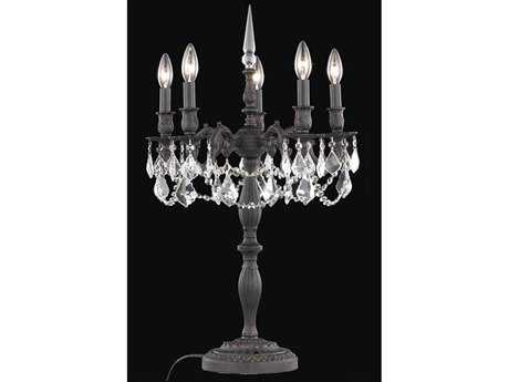Elegant Lighting Rosalia Royal Cut Dark Bronze & Crystal Five-Light Table Lamp EG9205TL18DB