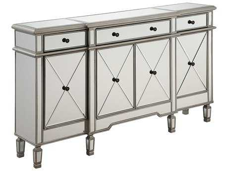 Elegant Lighting Silver & Clear Mirror Three-Drawers & Four-Door Cabinet Dresser EGMF61001SC