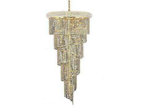 Elegant Lighting Spiral Royal Cut Gold & Crystal 18-Light 22'' Wide Grand Chandelier EG1801SR22G