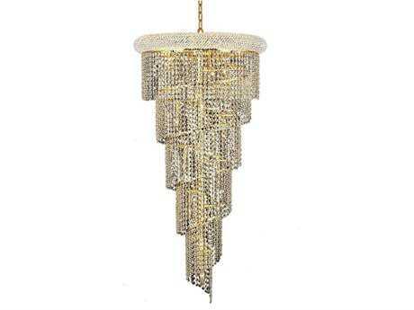 Elegant Lighting Spiral Royal Cut Gold & Crystal 18-Light 22'' Wide Grand Chandelier EG1801SR22G