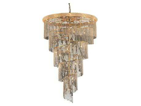 Elegant Lighting Spiral Royal Cut Gold & Crystal 29-Light 48'' Wide Grand Chandelier EG1801SR48G