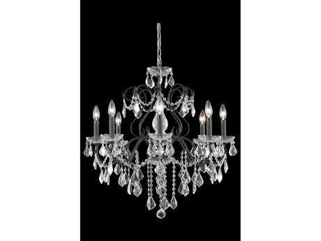 Elegant Lighting St. Francis Royal Cut Dark Bronze & Crystal Eight-Light 26'' Wide Chandelier EG2015D26DB