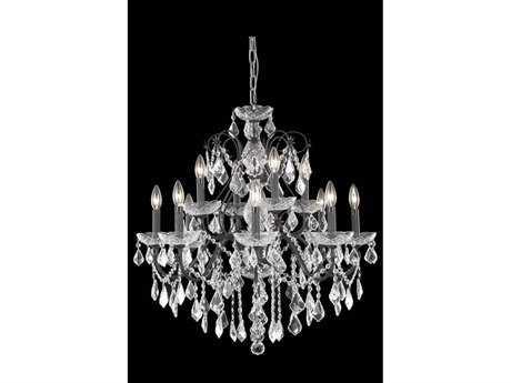 Elegant Lighting St. Francis Royal Cut Dark Bronze & Crystal 12-Light 28'' Wide Chandelier EG2015D28DB