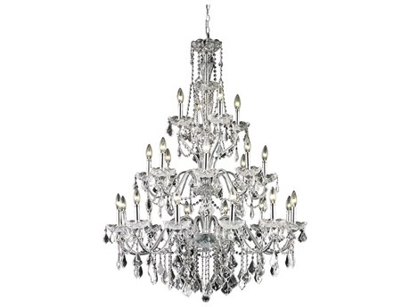 Elegant Lighting St. Francis Royal Cut Chrome & Crystal 24-Light 36'' Wide Grand Chandelier EG2015G36C