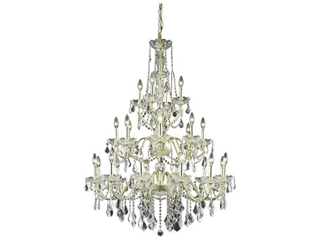 Elegant Lighting St. Francis Royal Cut Gold & Crystal 24-Light 36'' Wide Grand Chandelier EG2015G36G