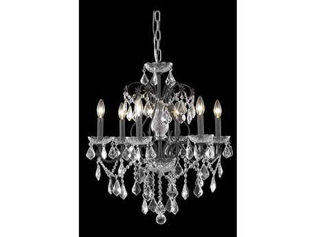 Elegant Lighting St. Francis Royal Cut Dark Bronze & Crystal Six-Light 24'' Wide Mini Chandelier EG2015D24DB