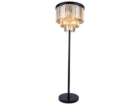 Elegant Lighting Sydney Mocha Brown & Golden Teak Crystal Eight-Lights Floor Lamp EG1201FL20MBGT