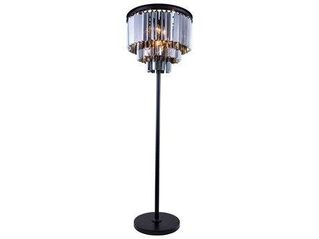 Elegant Lighting Sydney Mocha Brown & Silver Shade Crystal Eight-Lights Floor Lamp EG1201FL20MBSS