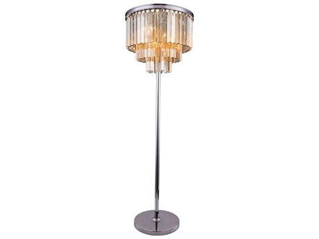 Elegant Lighting Sydney Polished Nickel & Golden Teak Crystal Eight-Lights Floor Lamp EG1201FL20PNGT