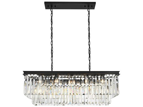 Elegant Lighting Sydney Mocha Brown & Clear Crystal 12-Lights 40'' Long Island Light EG1202D40MB