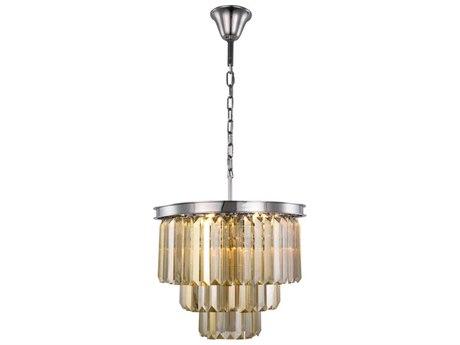 Elegant Lighting Sydney Polished Nickel Nine-Light 20'' Wide Mini Chandelier with Golden Teak Cut Crystal EG1231D20PNGTRC