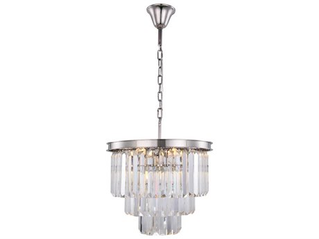 Elegant Lighting Sydney Polished Nickel Nine-Light 20'' Wide Mini Chandelier with Clear Cut Crystal EG1231D20PNRC