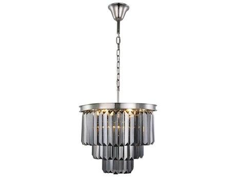Elegant Lighting Sydney Polished Nickel Nine-Light 20'' Wide Mini Chandelier with Silver Crystal EG1231D20PNSSRC