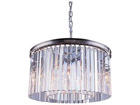 Elegant Lighting Sydney Polished Nickel & Clear Crystal Eight-Lights 26'' Wide Pendant Light EG1208D26PN