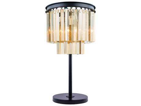 Elegant Lighting Sydney Mocha Brown & Golden Teak Crystal Three-Lights Table Lamp EG1201TL14MBGT