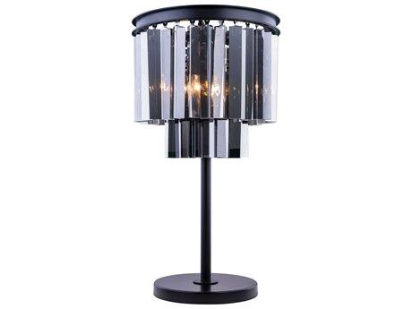 Elegant Lighting Sydney Mocha Brown & Silver Shade Crystal Three-Lights Table Lamp EG1201TL14MBSS