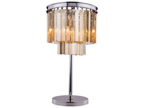 Elegant Lighting Sydney Polished Nickel & Golden Teak Crystal Three-Lights Table Lamp EG1201TL14PNGT