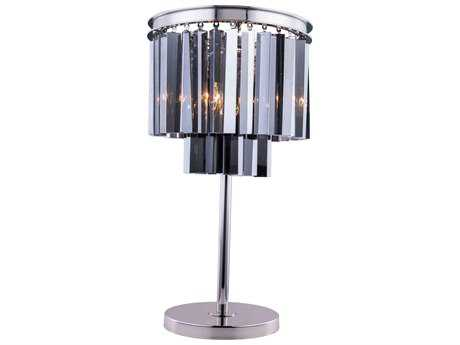 Elegant Lighting Sydney Polished Nickel & Silver Shade Crystal Three-Lights Table Lamp