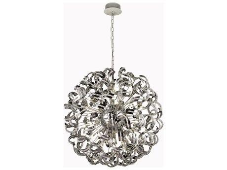 Elegant Lighting Tiffany Elegant Cut Chrome & Crystal 30-Light 43'' Wide Pendant EG2068G43C