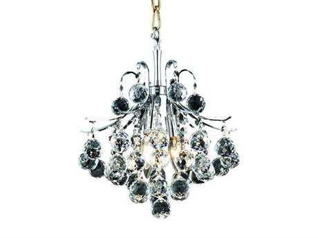 Elegant Lighting Toureg Royal Cut Chrome & Crystal Three-Light 12'' Wide Pendant EG8000D12C