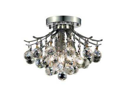Elegant Lighting Toureg Royal Cut Chrome & Crystal Three-Light 12'' Wide Semi-Flush Mount Light EG8000F12C