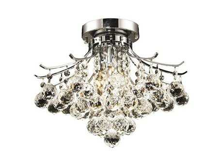 Elegant Lighting Toureg Royal Cut Chrome & Crystal Three-Light 16'' Wide Semi-Flush Mount Light EG8000F16C