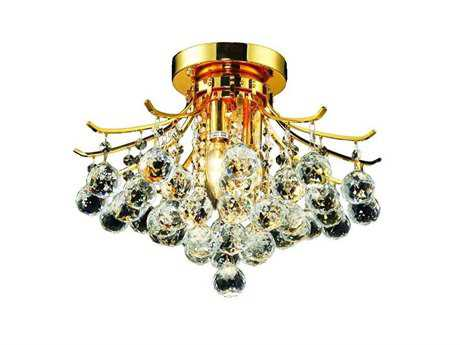 Elegant Lighting Toureg Royal Cut Gold & Crystal Three-Light 16'' Wide Semi-Flush Mount Light